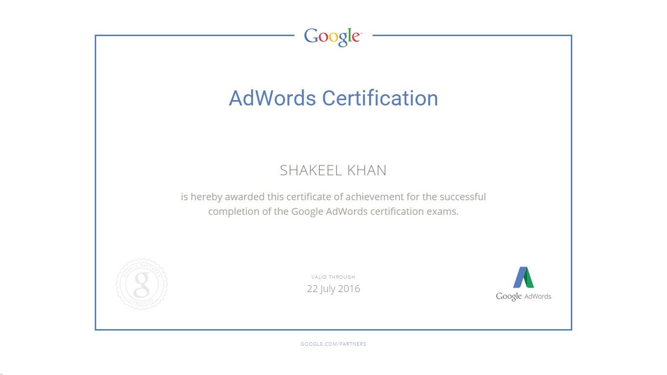 Shakeel Khan Google Adwords Analytics Certified And Bing Ads