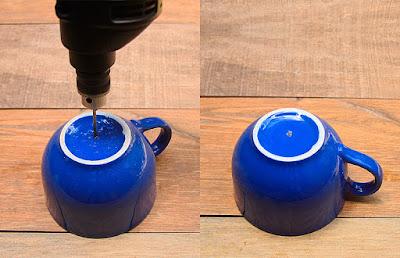 Para furar uma xícara você precisa de: calma e paciência :-)