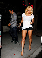 Pamela Anderson  Leggy in Tiny Black Shorts