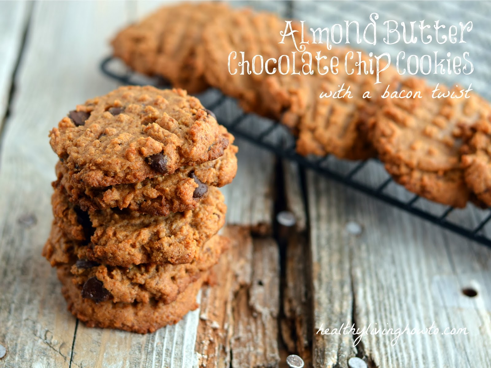 almond butter chocolate chip cookies with a bacon twist