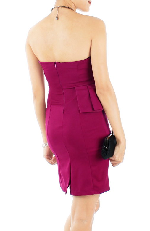 Wine Red Evening Sweetheart Bustier Dress with Side Pleat