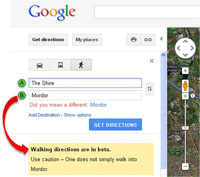 How to Get to Mordor Using Google Maps ~ Kuriositas Directions From The Shire To Mordor Google Maps on