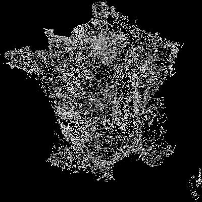 Localisation des communes françaises possédant au moins un monument historique