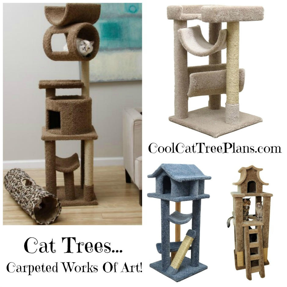 Cool Cat Tree Plans Cat Trees Carpet Covered Works Of Art