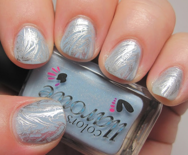 stamped with Essie No Place Like Chrome