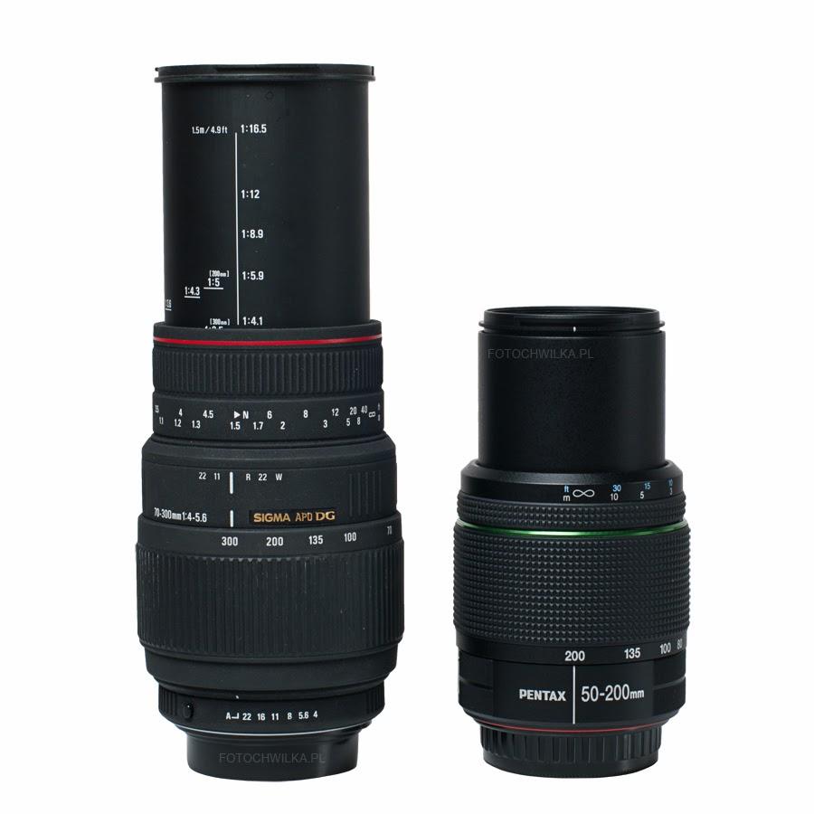 Sigma 70-300 mm f/4-5,6 APO DG MACRO i Pentax 50-200 mm WR bez osłony przeciwsłonecznej