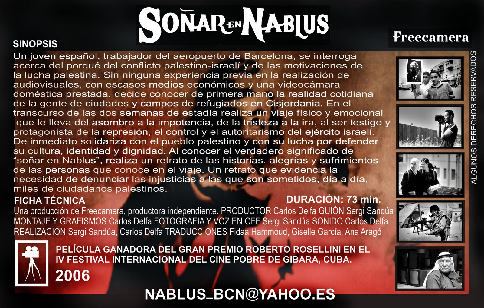 caratula documental Soñar en Nablus (2005)