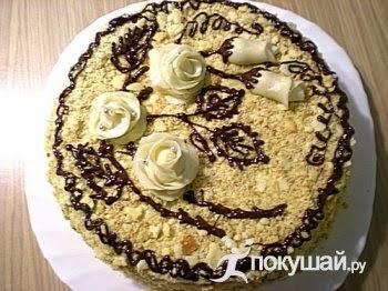 Торт Наполеон с розочками