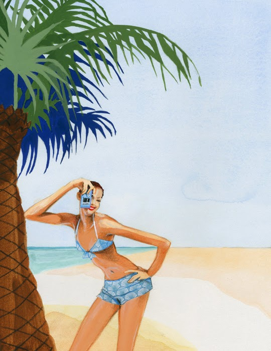 woman taking a vacation photo at the beach illustration by Robert Wagt