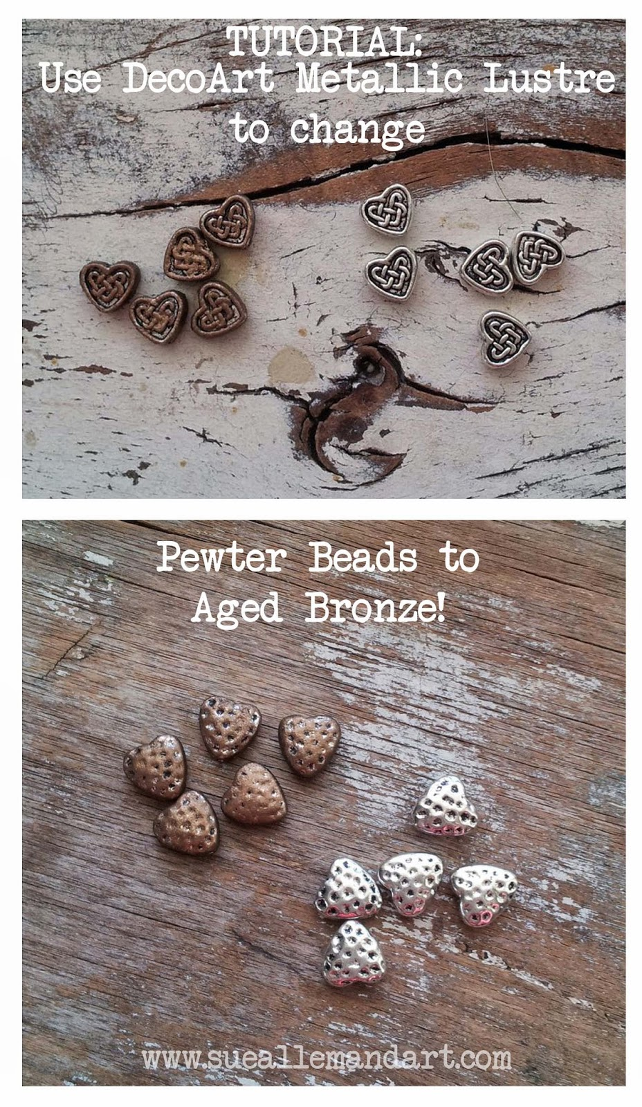 Use DecoArt Metallic Lustre to change pewter beads to aged bronze - by sueallemandart.com  #decoart #decoartacrylicpaints