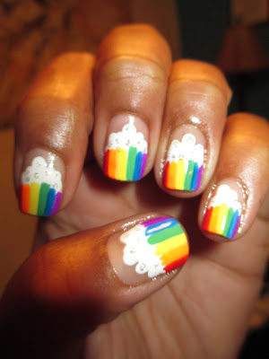 Clouds, rainbows, nail art, nail design, mani