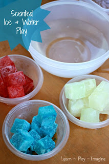 Summer fun sensory play with Kool Aid ice