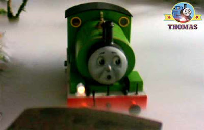 Thomas the train Percy the tank engine slipped into the sidings and buffered up to the freight cars