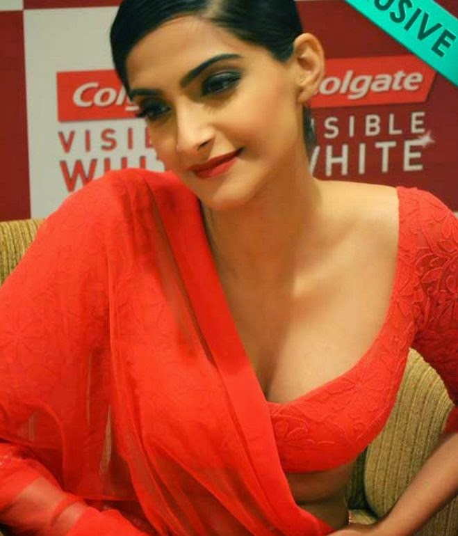 Sonam Big huge cleavage hot pictures in red blouse