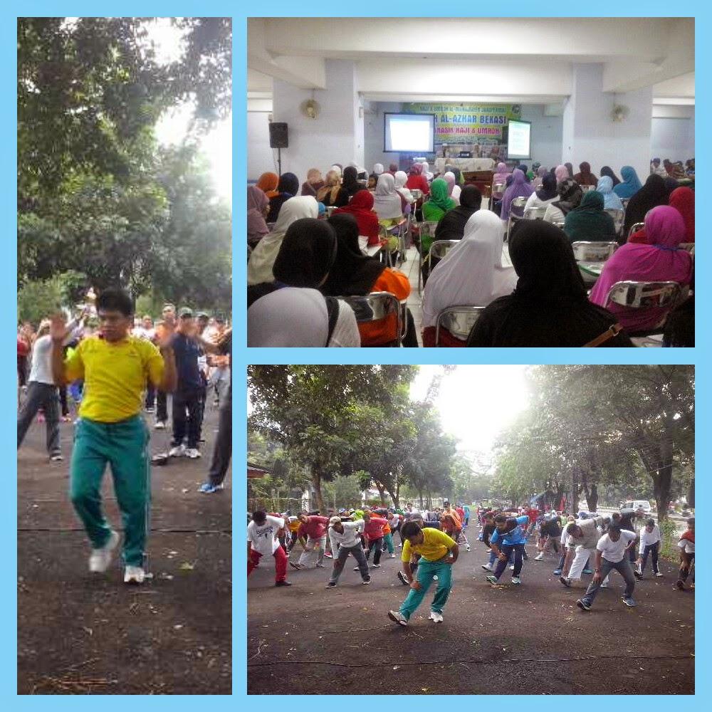 Edukasi kesehatan dan senam  haji sehat bersama Susu Haji Sehat kepada calon jamaah haji KBIH Al-Azhar Bekasi Jawa Barat