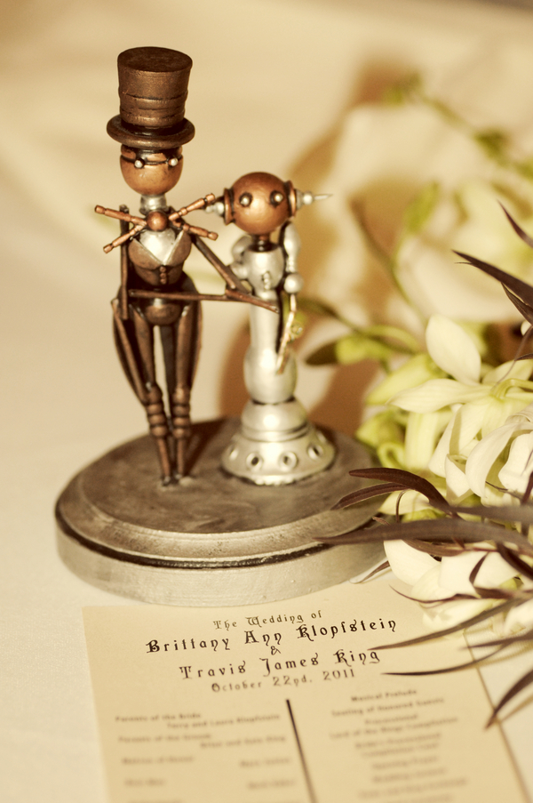 steampunk bride and groom cake topper