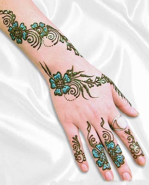 Mehndi Designs Colour : The fashion time latest colour glitter mehndi designs