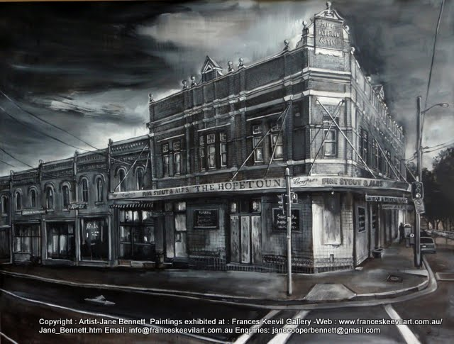 Urban decay -plein air ink and charcoal drawing of the Hopetoun Hotel by artist Jane Bennett