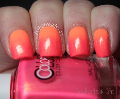 china glaze sun of a peach color club peace love & polish gradient neon nail art