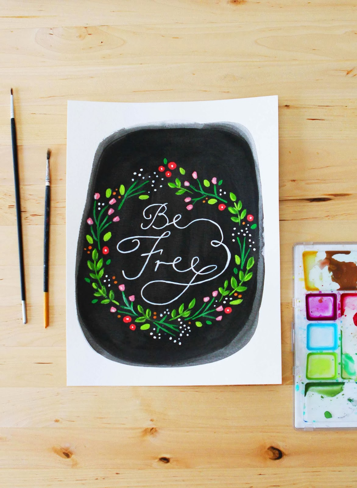painting writing words text quote flowers floral wreath chalkboard