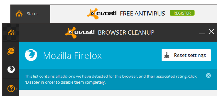 Avast! Free Antivirus 2014 9.0 for Windows 8, 7 - Browser Cleanup Tool
