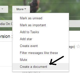 Create a Document in more option of gmail.com