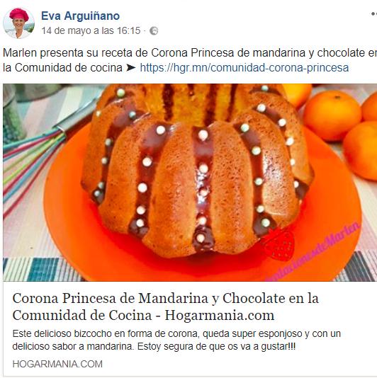 Mi corona Princesa de mandarina y chocolate, publicado por Eva Arquiñano en su comunidad de cocina.