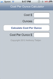 Cost Per Ounce Calculator for iPhone