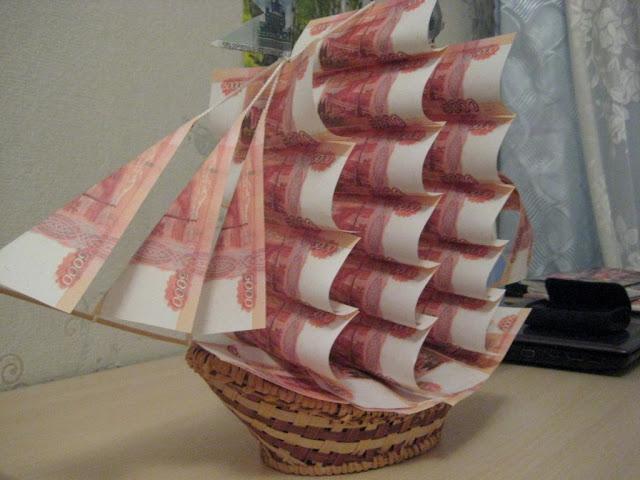 Корабль с деньгами на свадьбу