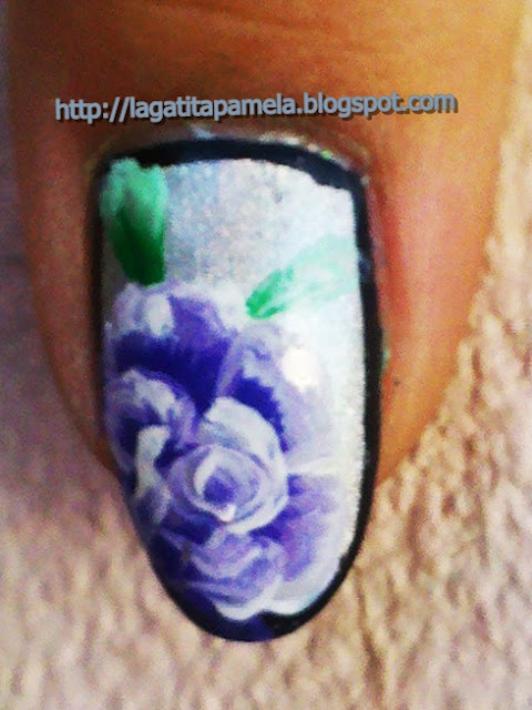 one stroke roses nail art