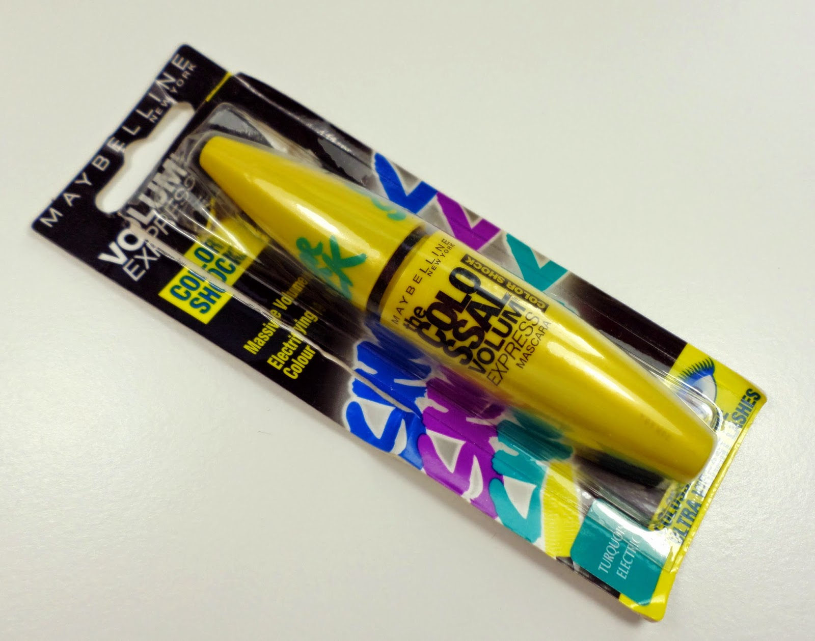 Maybelline Color Shock Colossal Volum' Mascara Electric Teal or Turquoise Electric