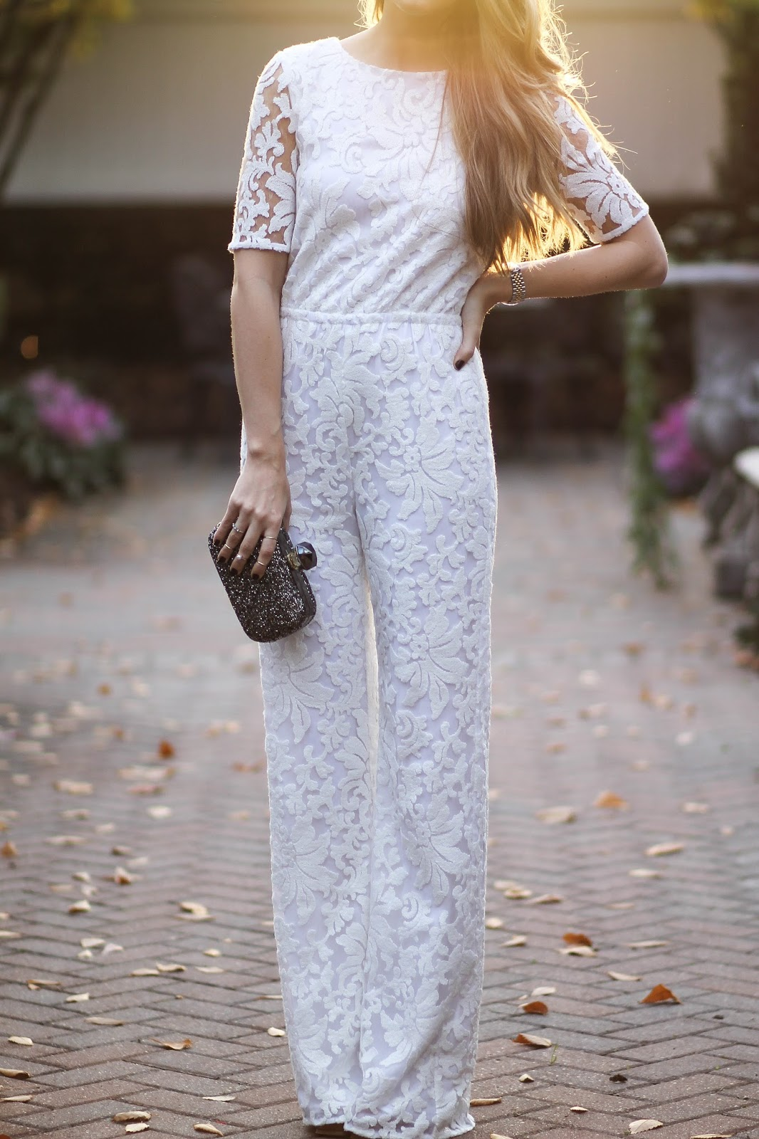 dvf white lace jumpsuit, dressed for dreams