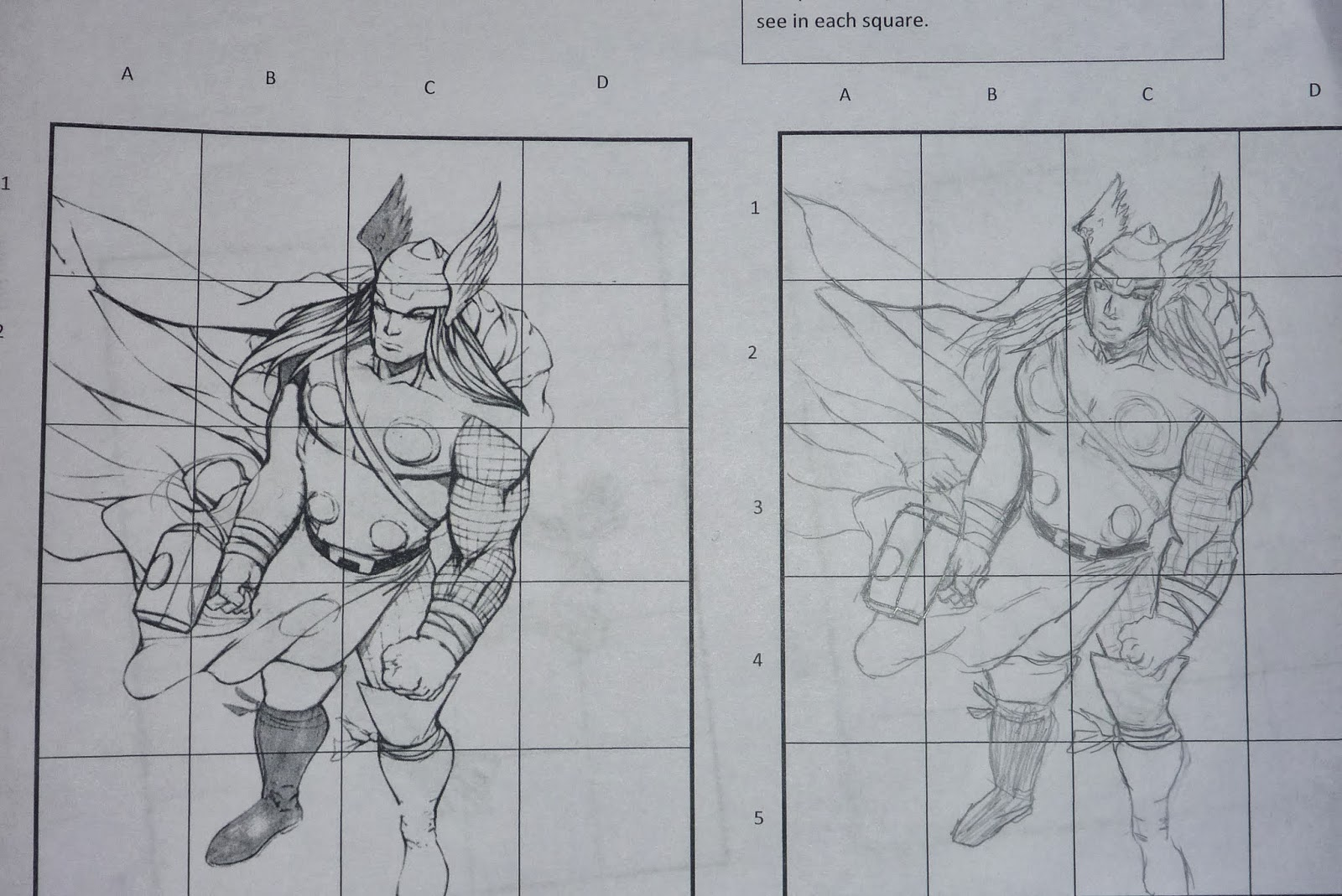 Grid Drawing Worksheets For High School Students : Splatters and smudges superheros