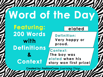 word of the day for grades 3-5