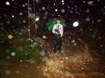 Elder Jones in rain