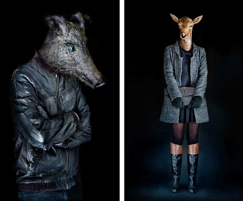 02-Wild Boar and Doe-Miguel-Vallinas-Segundas-Pieles-Second-Skins-Smartly-Dressed-Animals-www-designstack-co