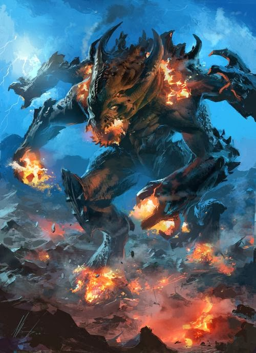 Ignacio Bazán Lazcano neisbeis deviantart illustrations card games fantasy Fire lava colossus