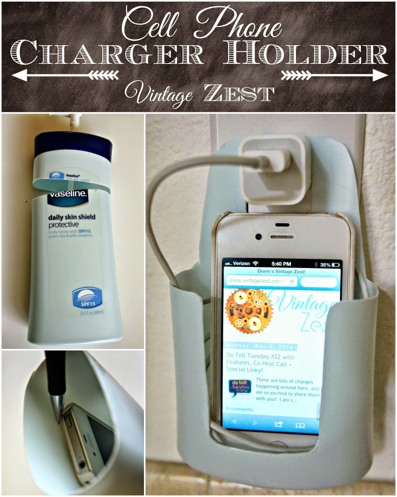 Cell Phone Charger Holder, shared by Vintage Zest