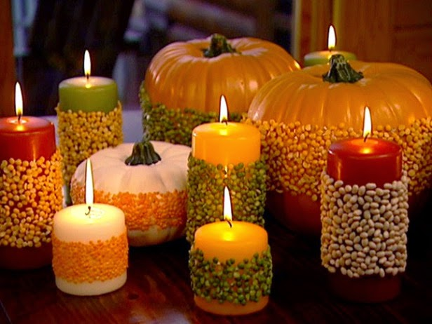 fall decor, peas, beans, pumpkins, candles