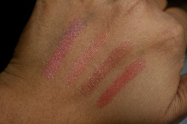 Neutrogena MoistureSmooth Color Stick in Sweet Watermelon, Juicy Peach, Warm Caramel, Fresh Papaya Swatches