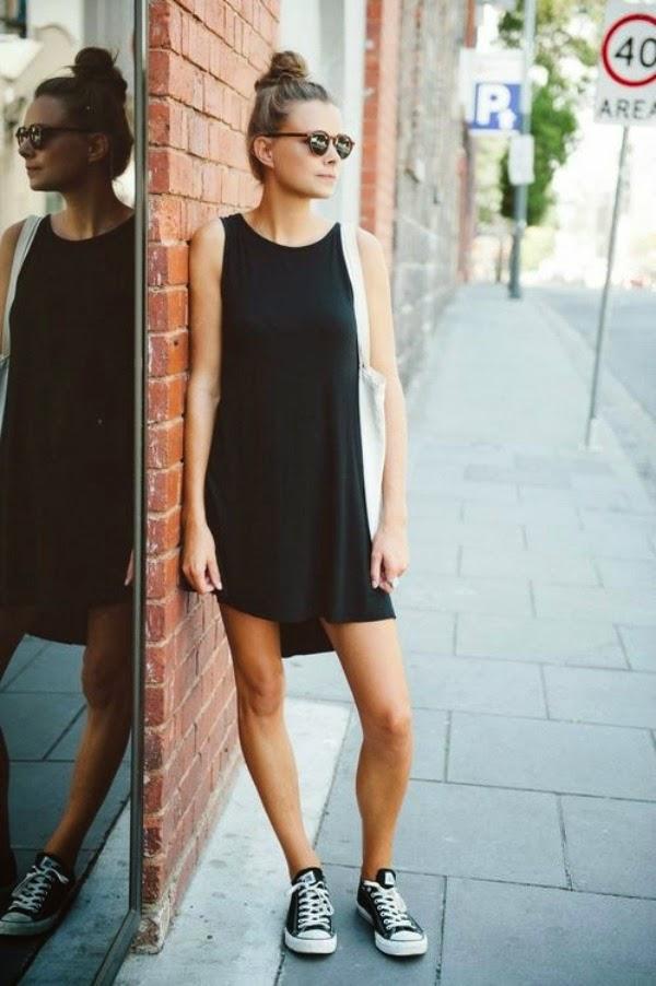 black dress with converse