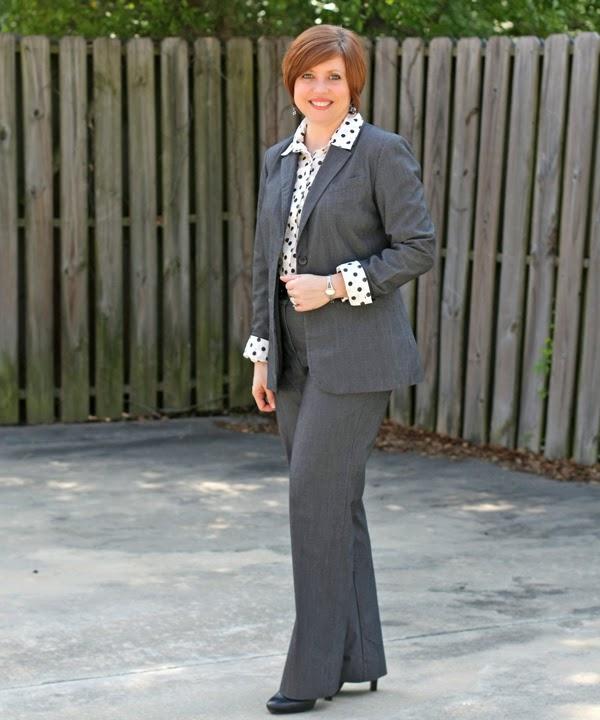 polka dot blouse, grey power suit