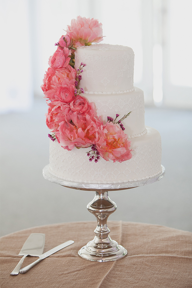 Stunning lace inspired cake with peonies, ranunculus & wax flowers from Zen bakery, Winnipeg, Manitoba.