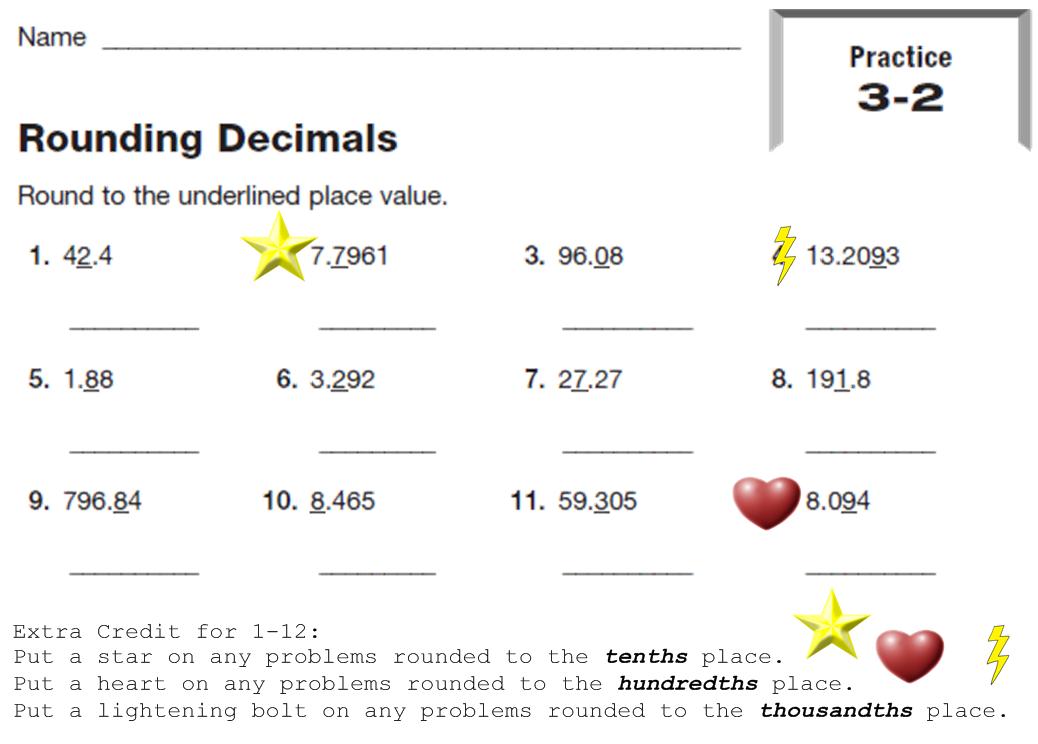 Homework ordering decimals