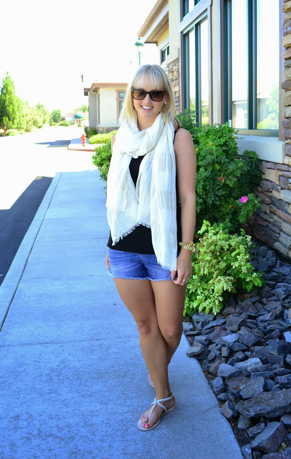 metallic scarf, black tank top, fashion blogger, street style