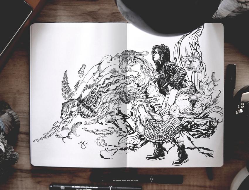 10-Fish-Tank-Joseph-Catimbang-Pentasticarts-Metaphysical-and-Surreal-Doodle-Drawings-www-designstack-co