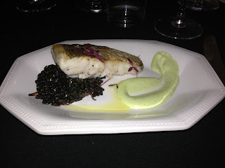 Calasparra Rice, Squid Ink, Seared Hake, Green alioli