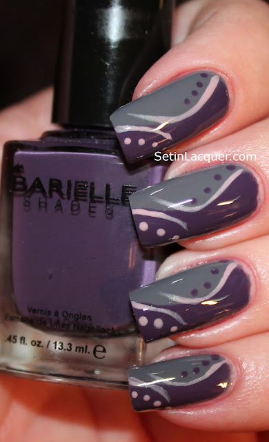 Dots and stripes nail art using Barielle polish