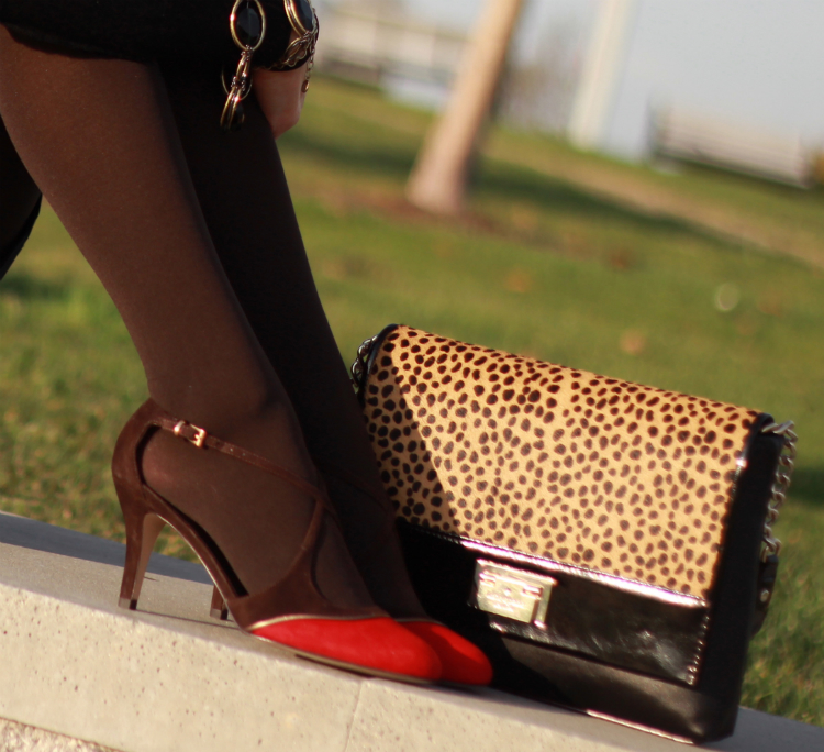 suede captoe heels brown red strap shoes