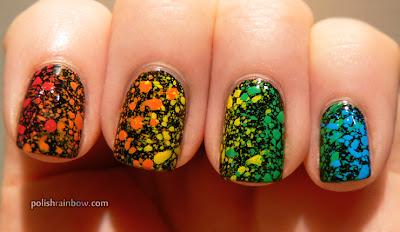 Rainbow splatter nails.